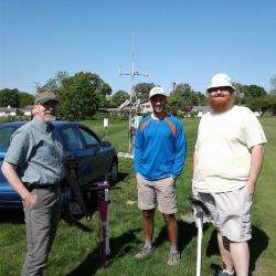 Assistant State Climatologist Jim DeGrand, Undergraduate Research Stephen Maldonado, and SCOO collaborator Aaron Wilson pose for a picture near the OARDC-Columbus meteorological tower preparing to intall soil moisture probes in the ground.