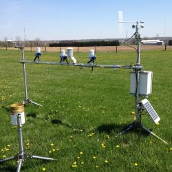 Weather station located in a field