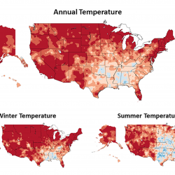 Observed changes in annual, winter, and summer temperature (°F) for different periods since 19081